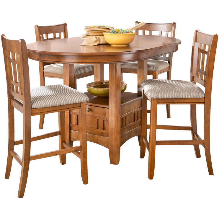 Santa Rosa 5 Piece Oak Counter Dining Set