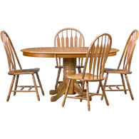Jefferson 5 Piece Curved Arrow Pedestal Dining Set