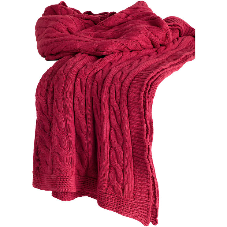 Cozy Red Cable Knit Throw
