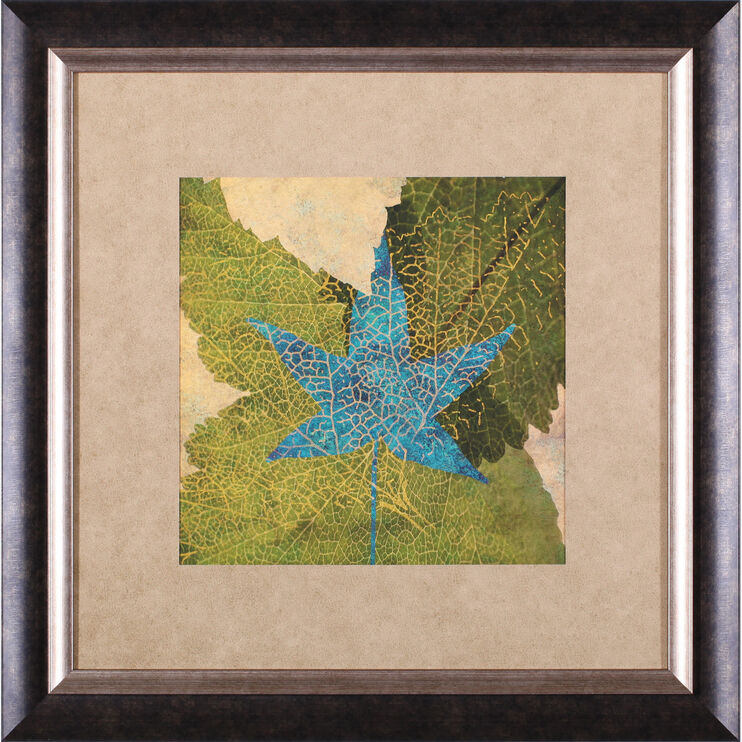Teal Leaf II Framed Art