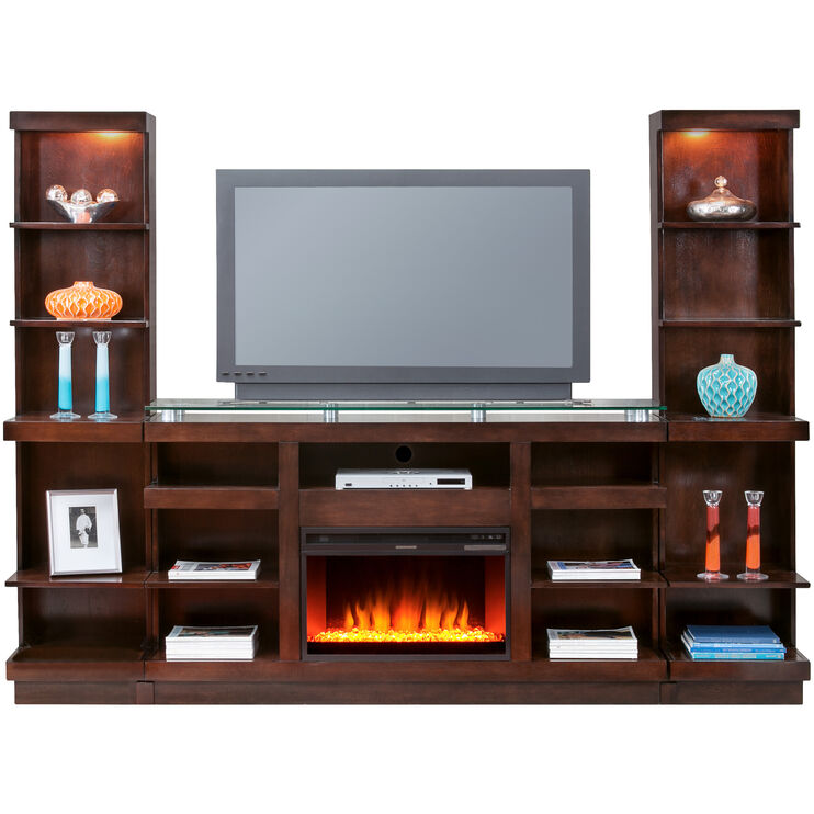 Novella 3 Piece Chocolate Fireplace Wall