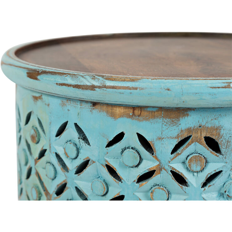 Global Archive Turquoise Drum Table