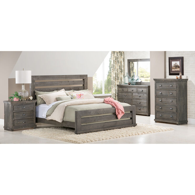 Willow Distressed Gray Queen Slat 4 Piece Room Group