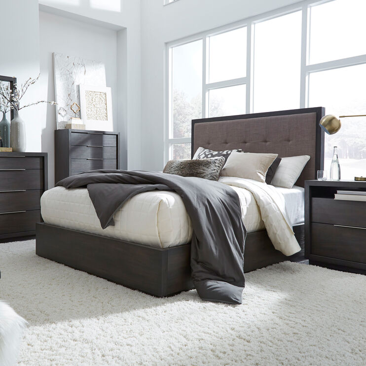 Oxford Gray Queen Panel Bed