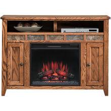 Evanston Antique Oak 48 Inch Fireplace Console