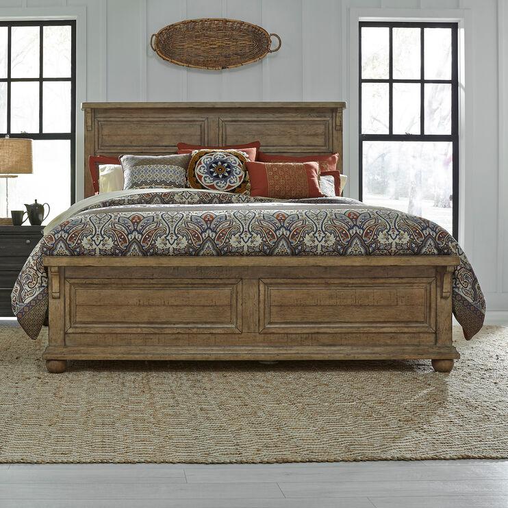 Harvest Home Brown Queen Panel Bed
