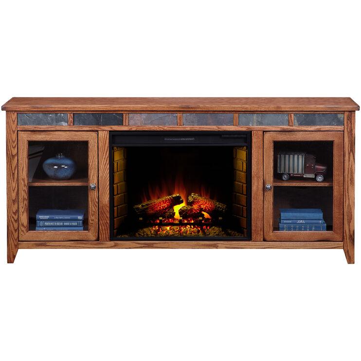 Evanston Antique Oak 72 Inch Hiboy Fireplace Console