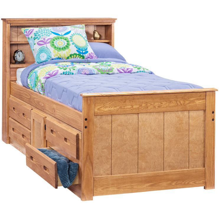 Heartland Honey Twin Captains Bed