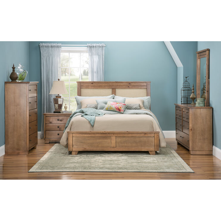 Diego Dune Qn Uph Bed w/Metal Rails