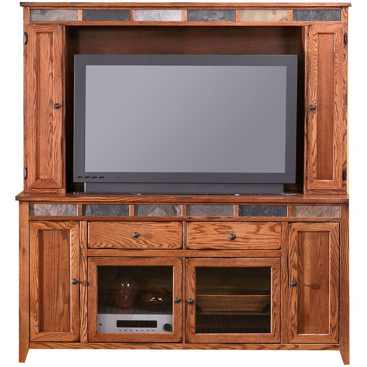Evanston Antique Oak 72 Inch Door Console with Hutch