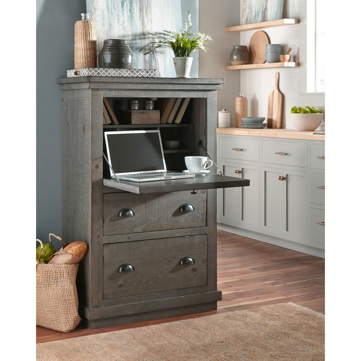 Willow Gray Armoire Desk