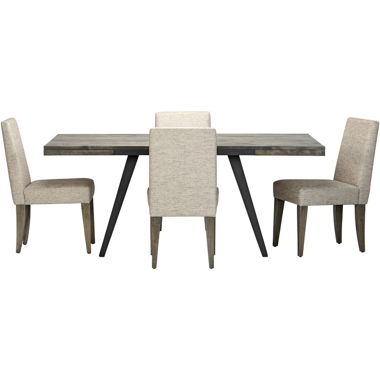 Uptown 5 Piece Gray Upholstered Dining Set