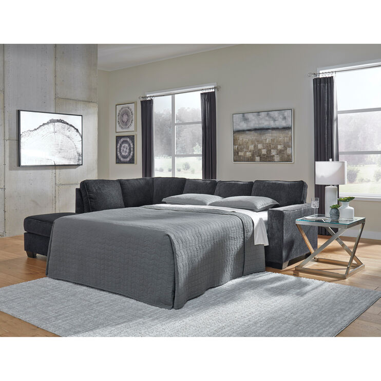 Riles Slate Left Chaise Sleeper Sectional
