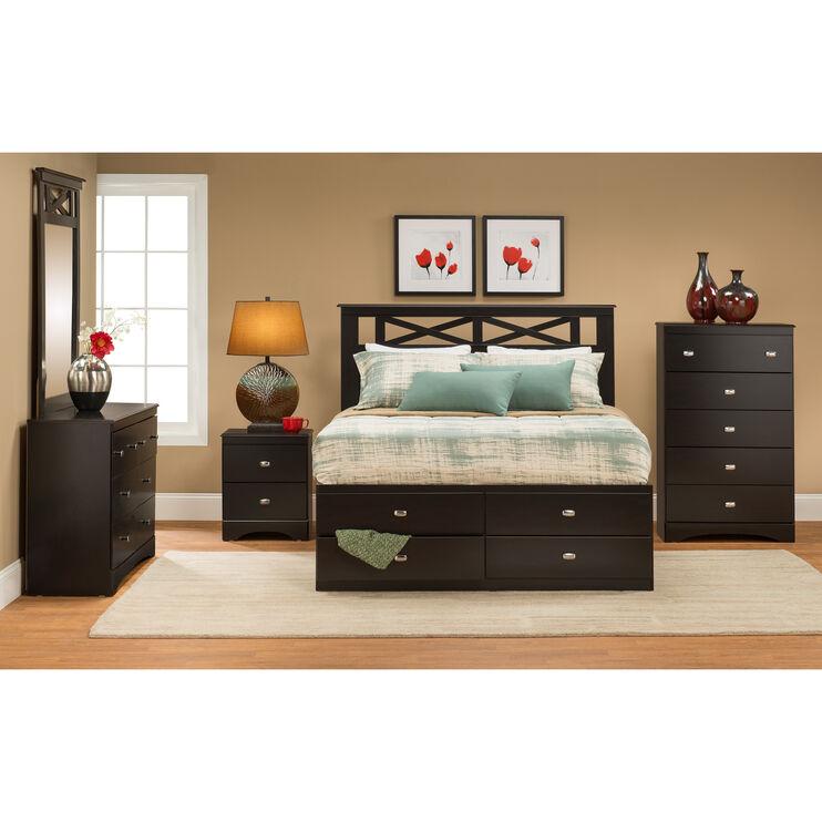 Tyler Merlot 4 Piece Storage Bed Package