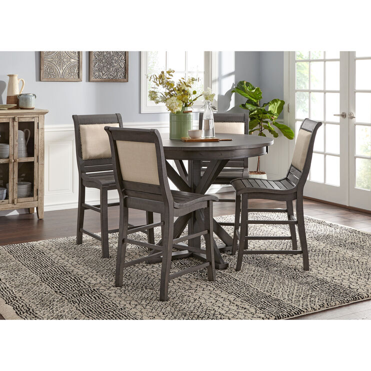 Willow Distressed Gray 5 Piece Round Counter Set