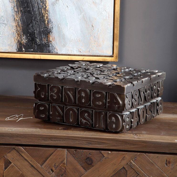 Vintage Typeset Bronze Decorative Box