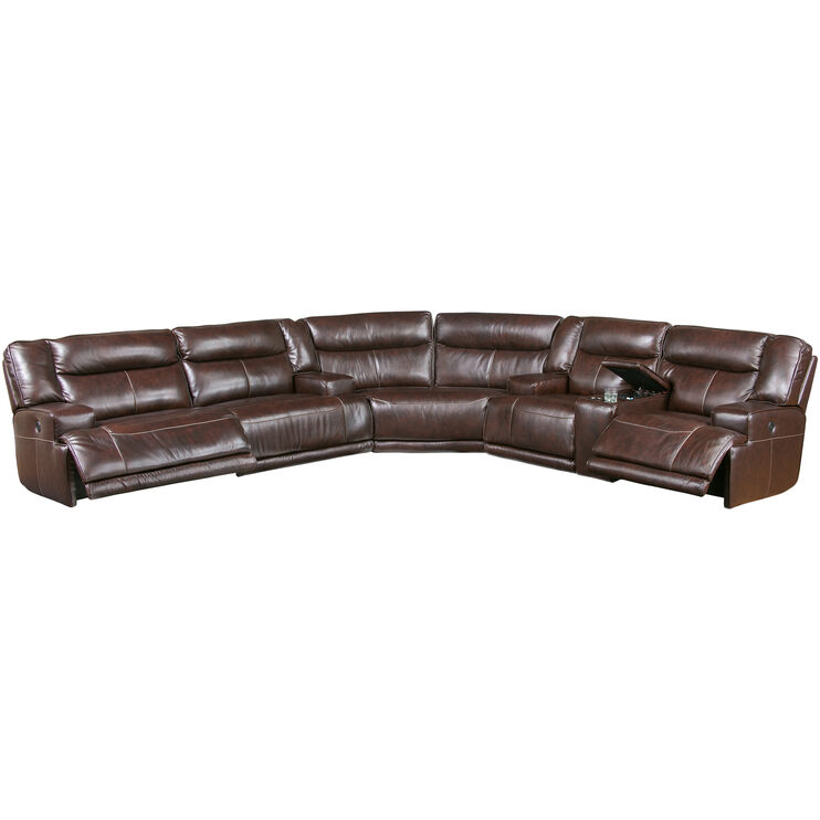 Tompkins 3 Piece Brown Power Reclining Sectional