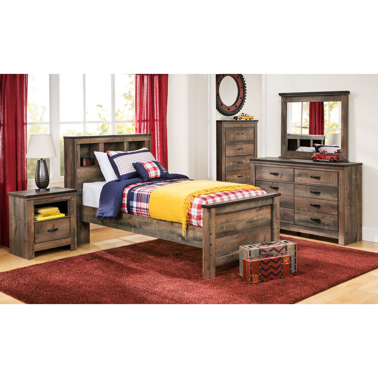 Slumberland Furniture Trinell Rustic Full Bookcase Bed