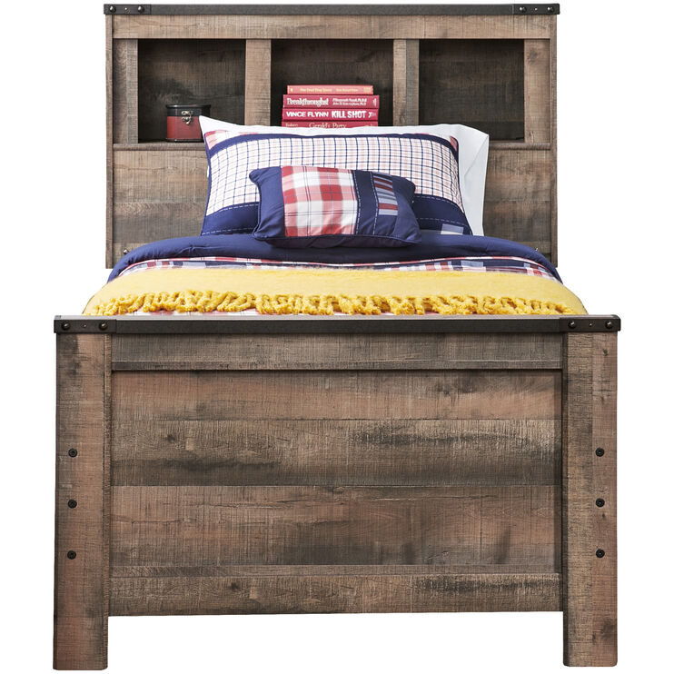 Trinell Rustic Twin Bookcase Bed