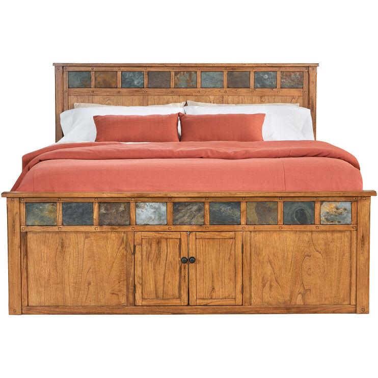 Sante Fe Rustic Oak Queen Panel Captains Bed