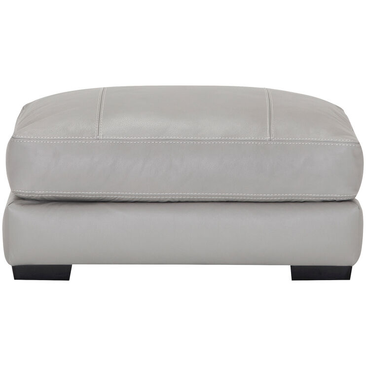 Wake Leather Gray Ottoman
