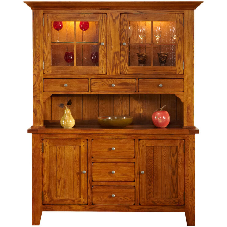 Keepsakes Rustic Oak Server and Hutch