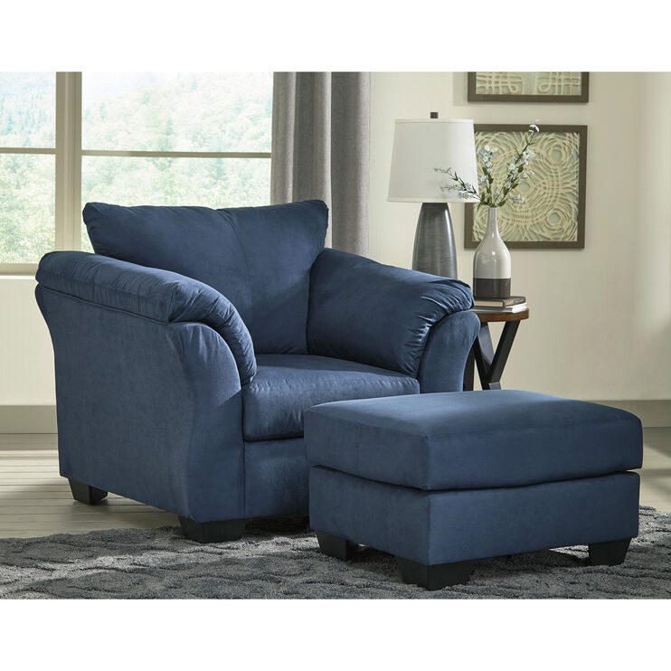 Marcy Blue Ottoman