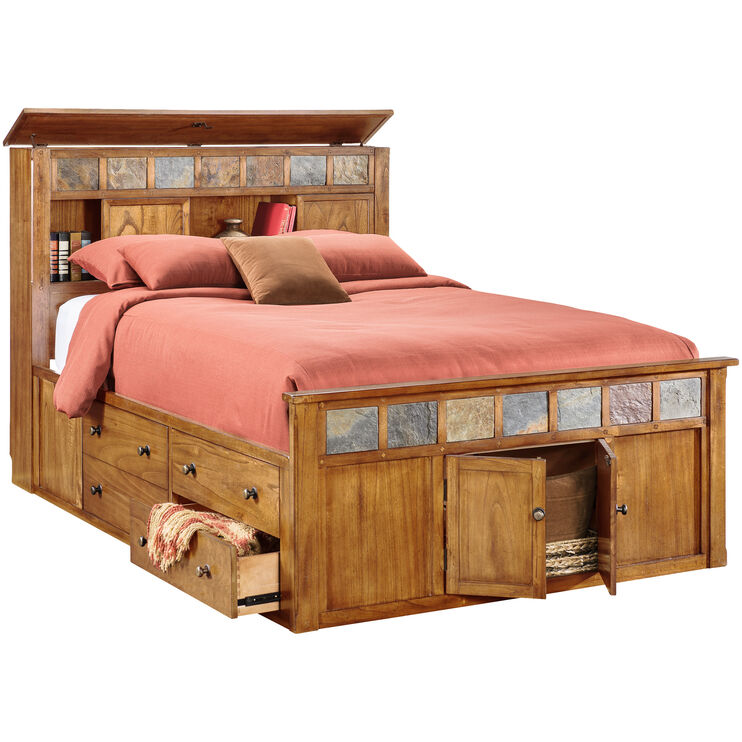 Sante Fe Rstc Oak Kg Bookcase Capt Bed
