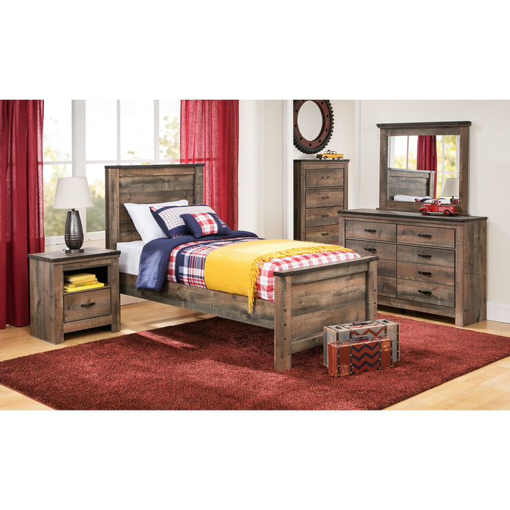 Trinell Rustic Plank Twin Panel Bed