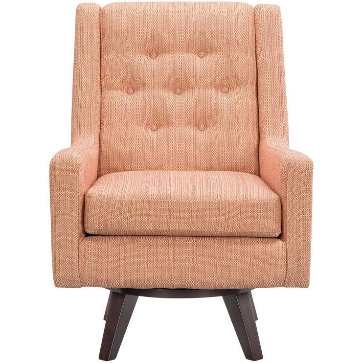 Kale Orange Swivel Accent Chair