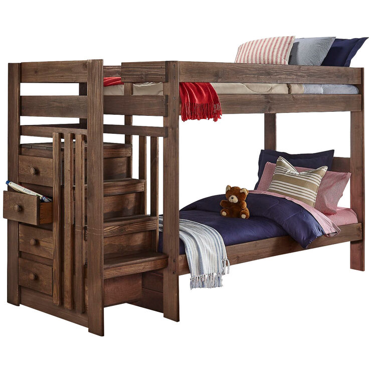Haley Chestnut Twin over Twin Stairway Bunkbed