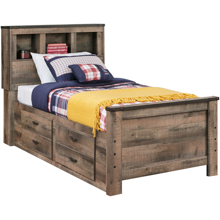 Trinell Rustic Plank Full Bookcase Storage Bed