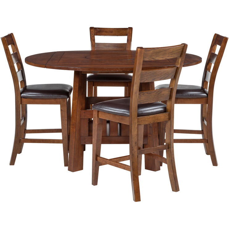 Brook Medium Oak 5 Piece Counter Dining Set