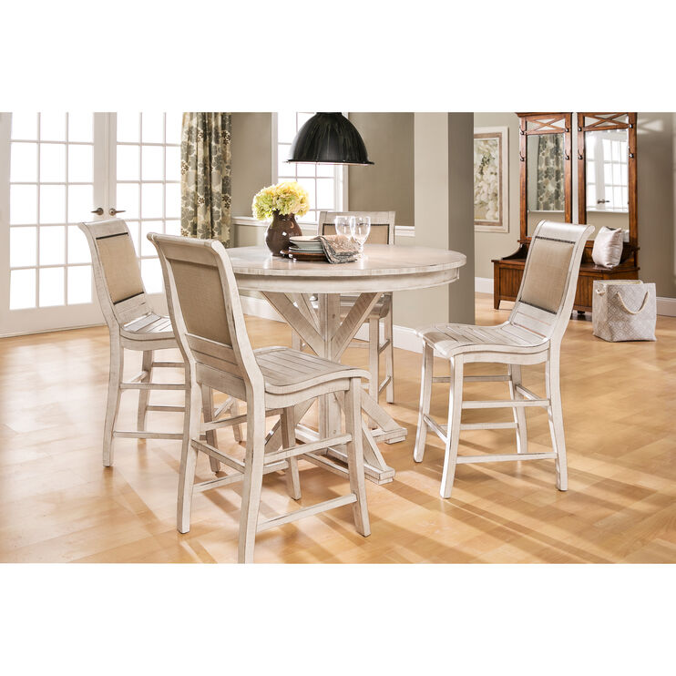 Willow Distressed White 5 Piece Round Counter Dining Set