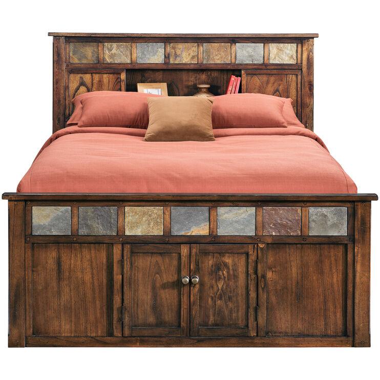 Sante Fe Chocolate Queen Bookcase Captains Bed