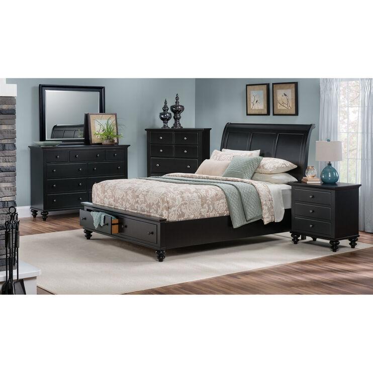 Slumberland Furniture Hampton Court Black Queen Storage Bed