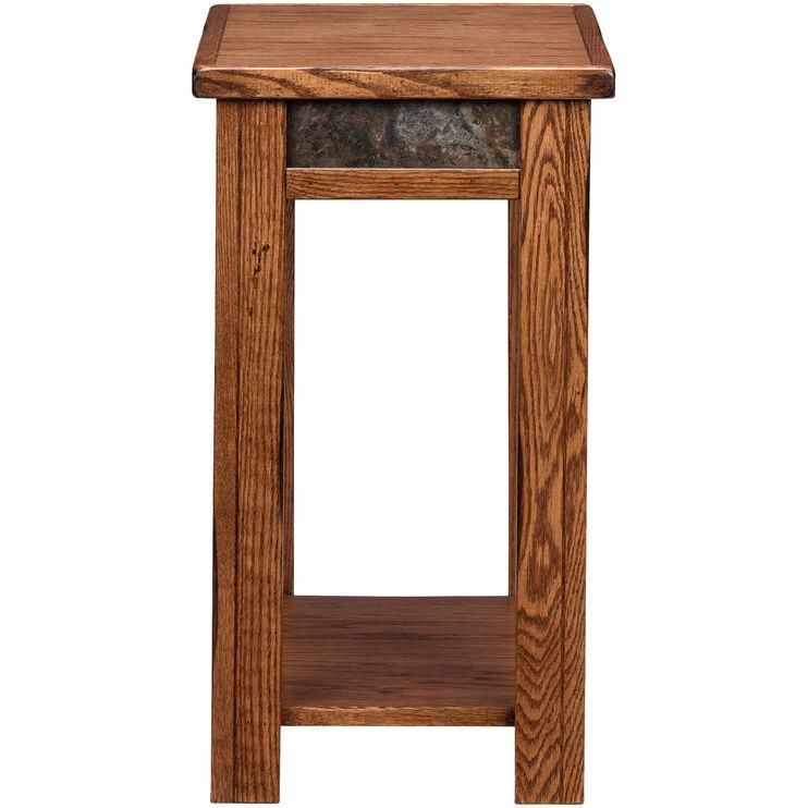 Evanston Antique Oak Rustic Chairside Table