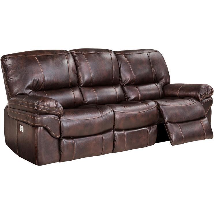 Valdez Brown Power Reclining Sofa Slumberland Furniture