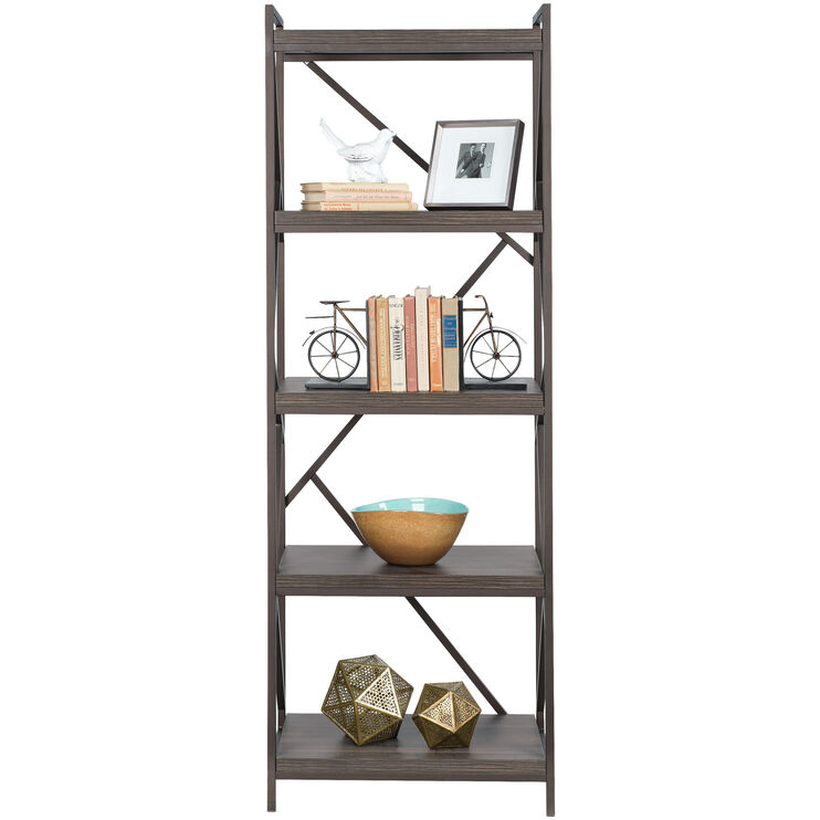 Basel Walnut 5 Shelf Bookcase