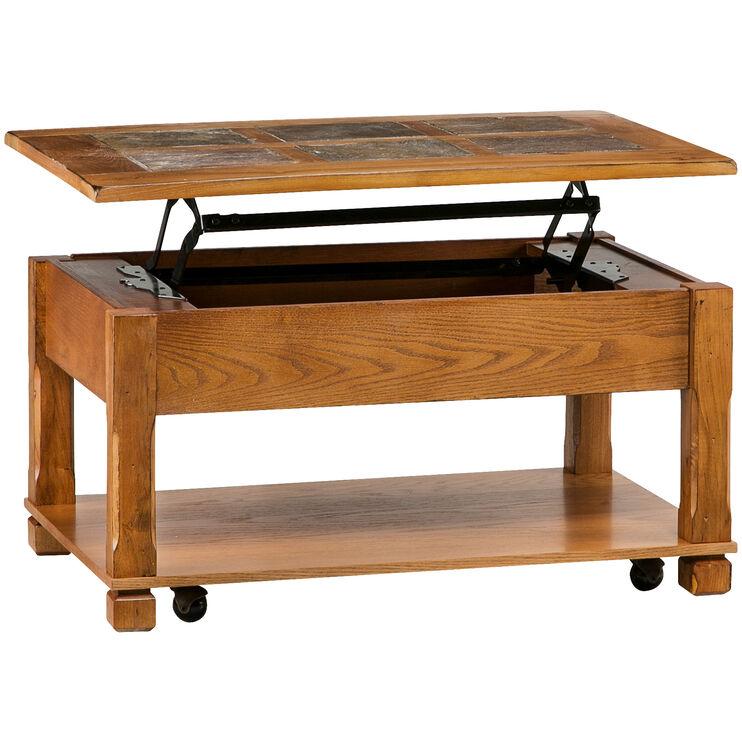 Rustic Ridge Oak Lift Top Coffee Table