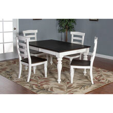 Carriage House 5 Piece White and Black Dining Set