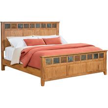Sante Fe Rustic Oak Qn Panel Bed