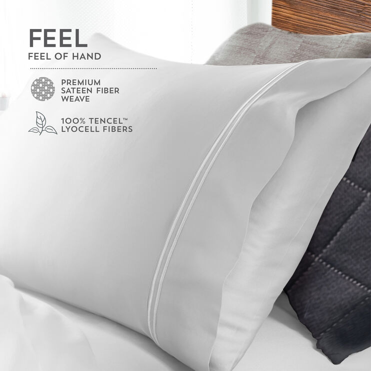 Elements Light Blue Queen Tencel Pillowcase