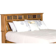 Sante Fe Rustic Oak Queen Bookcase Headboard
