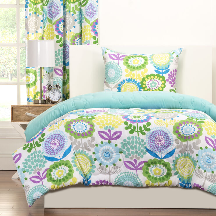 Crayola Pointillist Pansy 3pc Twin Comforter Set
