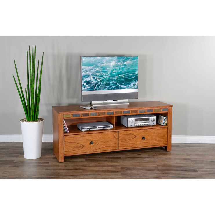 Sedona Rustic Oak 64 Inch TV Console
