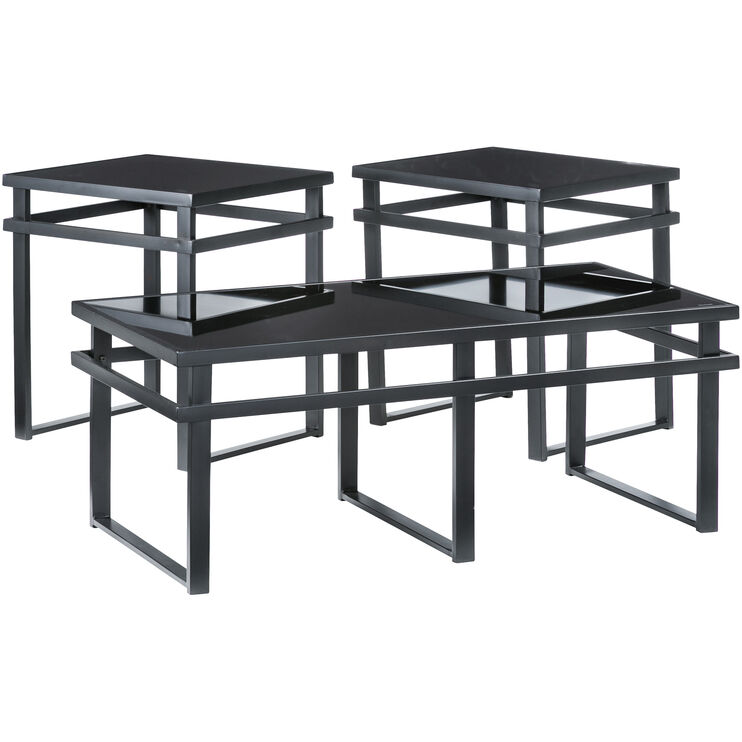 Laney Black Glass Set of 3 Tables