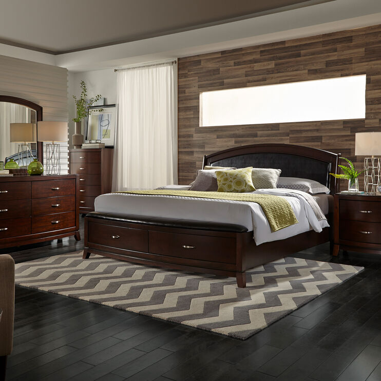 Avalon Dark Brown Queen Storage Bed