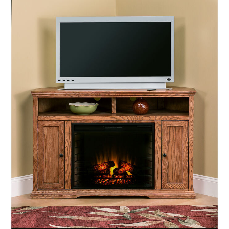 Chambers Golden Oak 56 Inch Corner Fireplace Console