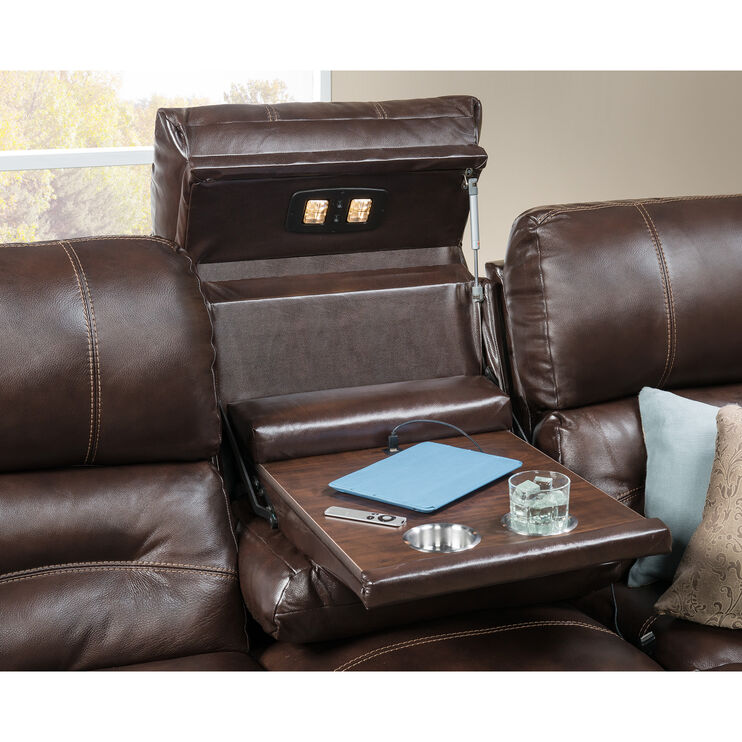 Stansted 3Pc Chocolate Power Sectional